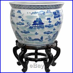 Oriental Furniture 20 Porcelain Fishbowl Blue & White Landscape