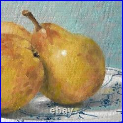 Original Oil Painting Still Life Pears on Blue and White China Plate AH Selway