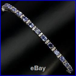 Oval 4x3mm Blue Tanzanite Cz 14k White Gold Plate 925 Sterling Silver Bracelet 8