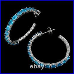Oval Blue Apatite 4x3mm 14K White Gold Plate 925 Sterling Silver Earrings