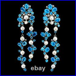 Oval Blue Apatite 5x4mm Pearl Cz White Gold Plate 925 Sterling Silver Earrings
