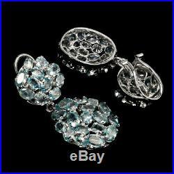 Oval Blue Zircon 7x5mm 14k White Gold Plate 925 Sterling Silver Big Earrings