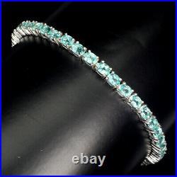 Oval Neon Blue Apatite 4x3mm 14K White Gold Plate 925 Sterling Silver Bracelet