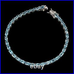 Oval Sky Blue Topaz 5x3mm 14K White Gold Plate 925 Sterling Silver Bracelet 7