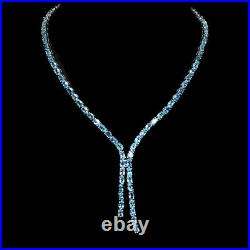 Oval Swiss Blue Topaz 14K White Gold Plate 925 Sterling Silver Necklace 19 Ins