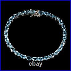 Oval Swiss Blue Topaz 6x4mm 14K White Gold Plate 925 Sterling Silver Bracelet