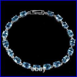 Oval Swiss Blue Topaz 7x5mm White Gold Plate 925 Sterling Silver Bracelet 7.5