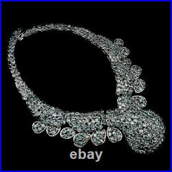 Oval Zircon Seafoam Blue 7x5mm White Gold Plate 925 Sterling Silver Big Necklace