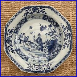 PAIR OF 18th CENTURY CHINESE BLUE & WHITE PORCELAIN HAND-PAINTED PLATES QIANLONG