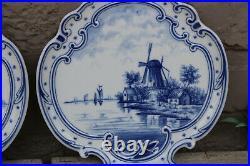 PAIR delft blue white porcelain mill dutch water landscape Wall plates plaques