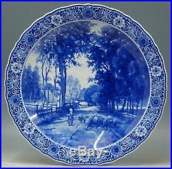 @ PERFECT @ Porceleyne Fles handpainted blue+white Delft charger Bakhuyzen 1971
