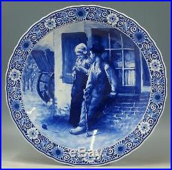 @ PERFECT @ Porceleyne Fles handpainted blue & white Delft charger Blommers 1977