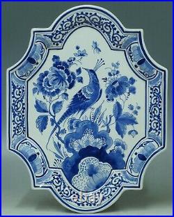 @ PERFECT @ Porceleyne Fles handpainted blue & white Delft wallplaque bird 1991
