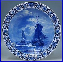 @ PERFECT @ antique Porceleyne Fles handpainted blue & white Delft charger 1906