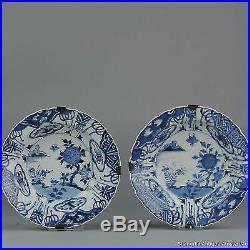 Pair 1680-1700 Kangxi Period Japanese Kraak Revival Klapmuts Blue White Dish