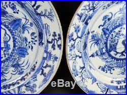 Pair Antique Chinese Blue White Dishes Rare CONVEX Centers 18th Century Kangxi