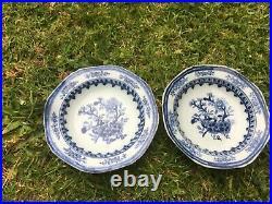 Pair Antique Chinese blue & white plates dishes Qianlong circa 1750