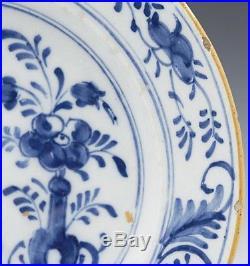 Pair Antique Dutch Delft Blue And White Floral Design Plates 18th C
