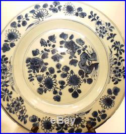 Pair Chinese 17TH C Porcelain Blue White Plates Kangxi