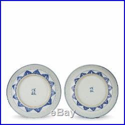 Pair Chinese Qing Blue & White Porcelain Rice Grain Plates