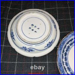 Pair Japanese Edo 1680s Arita Sometsuke Ko-Imari Blue & White Porcelain Plates