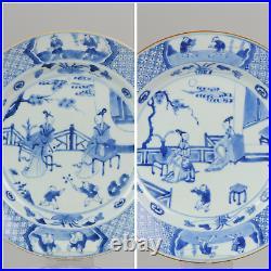 Pair Large antique Kangxi 18C Blue white Dish Go Players Qing Chinese Po
