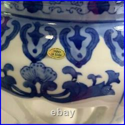 Pair Of Chinese Export Blue And White Porcelain Stools Or Urn Stands 20th Cent