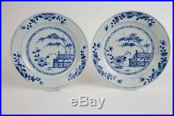 Pair antique chinese porcelain blue and white plates, 18th century