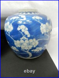 Pair of 19th century Chinese blue & white prunus ginger jars four character mark