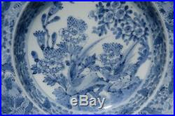 Pair of Antique Blue and White porcelain plates, flowers and birds