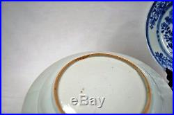 Pair of Antique Chinese Blue & White Porcelain Plates Qing Dynasty