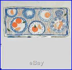 Pippin Handpainted Needlepoint canvas blue white plate bolster with oranges KIT
