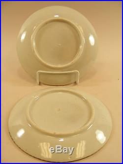 Pr. Japanese Imari Peony Plates 7 1/2, Blue & White c. 1875