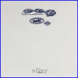 Pre-Owned HERMES Paris Porcelain Plate Chain D'ancre White Blue R-265 F/S