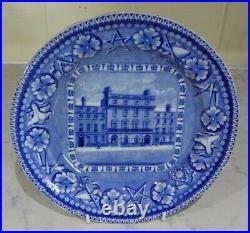 RARE ANTIQUE GEORGIAN SYMBOLIC MASONIC PLATE c1820 BLUE WHITE FREEMASONS TAVERN
