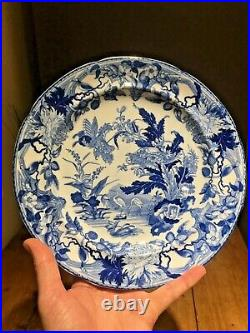 RARE ANTIQUE c1825 WEDGWOOD CRANE PATTERN CABINET PLATE BLUE & WHITE CHINOISERIE