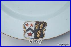 RARE Chinese Armorial Charger Plate HAWK FALCONRY EAGLE crest Bird Prey WILLES