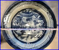 RARE EARLY ANTIQUE CHINESE CANTON EXPORT BLUE & WHITE PLATE CHARGER 19th CENTURY