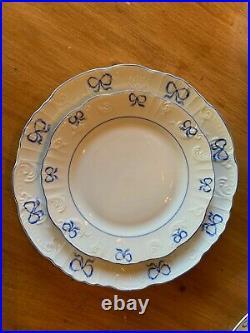 RUBAN BLUE by Vista Alegre SET 4 Dinner Plates & 4 Salad Plates Blue/White EUC