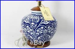 Ralph Lauren Blue & White Floral Porcelain Table Lamp Signature Plate New