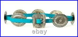 Ralph Lauren Concho Native West White Turquoise 7 Plate Leather Buckle Belt