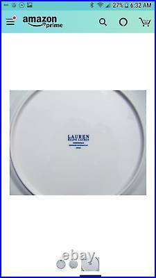 Ralph Lauren Mandarin Blue 10 3/4 Dinner Plates Set 2 New