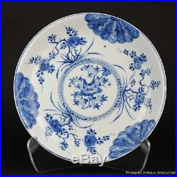 Rare 35.5CM Antique Chinese ca 1690 Kangxi Cobalt Blue White Charger Plate Qi