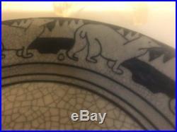 Rare ANTIQUE DEDHAM POTTERY 8 1/2 Polar Bear PLATE BLUE/WHITE CRACKLED GLAZE