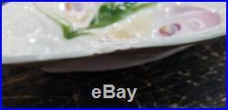 Rare Antique 1800s White Light Blue Trim Moser Oyster Plate