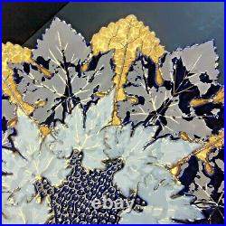 Rare Antique 19th C Meissen Cobalt Blue Gold White Maple Leaf Cabinet Plate