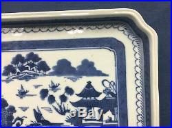 Rare Antique Chinese Export Blue & White Canton Rectangular Shaped Tray Platter