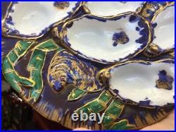 Rare Antique Haviland Limoges France Turkey Oyster Plate Purple Blue Green 1876