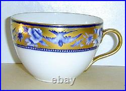 Rare Antique Wileman Shelley Blue Swallows Gilded Trio Teacup Saucer Plate C1910