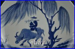 Rare China Ancient Chinese Blue White Porcelain Cowboy Ride Cattle Plate 10.43